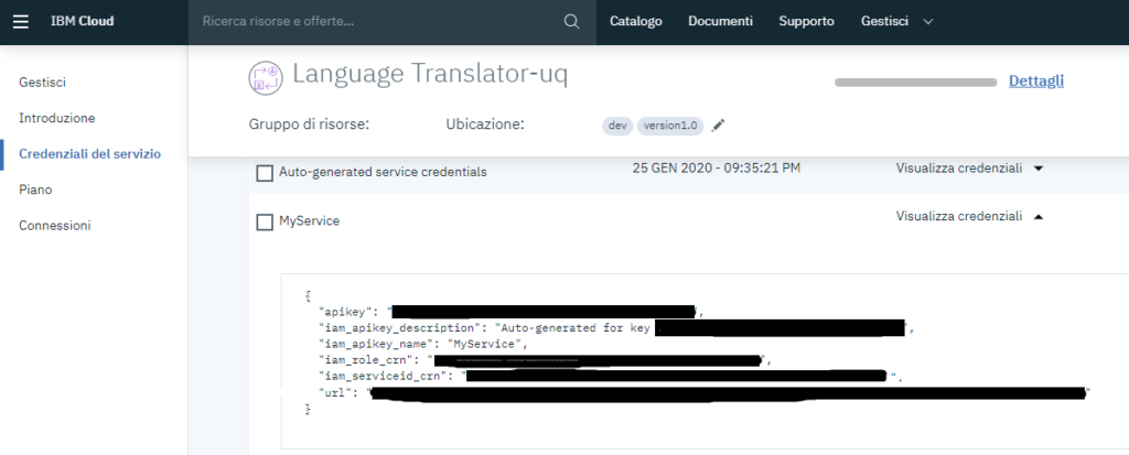 IBM Watson™ Language Translator Dashboard
