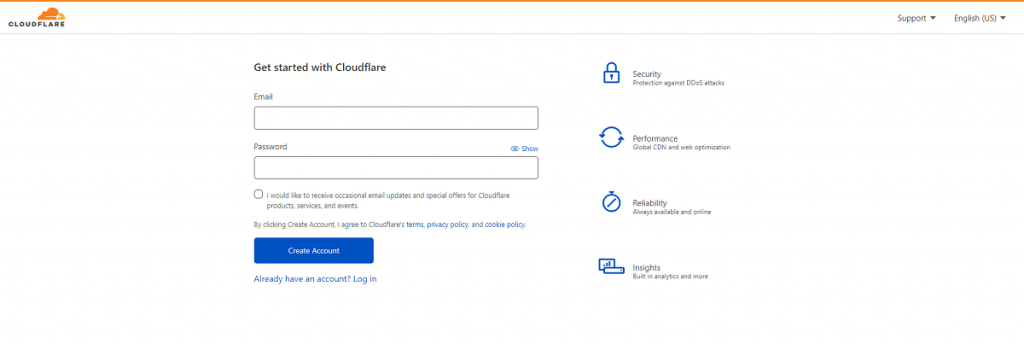 Sign up in Cloudflare