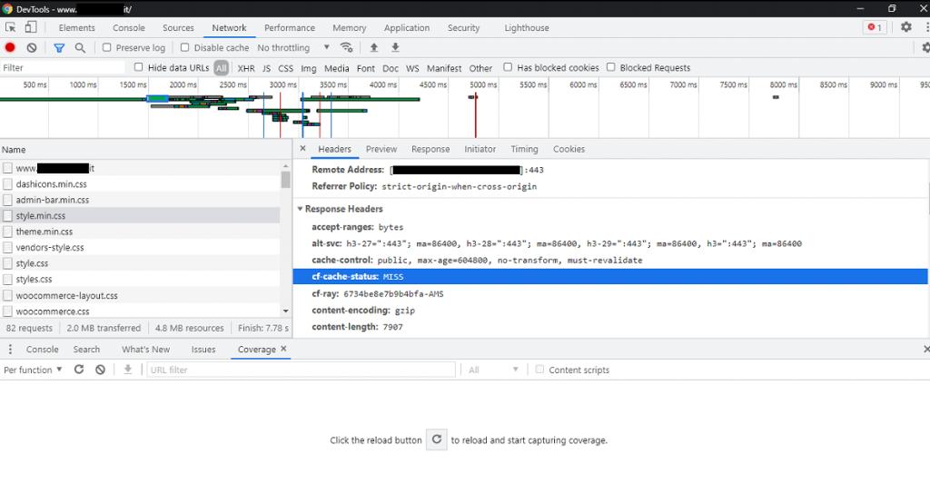 Chrome - cf-cloudflare headers