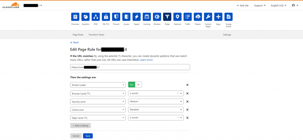 Cloudflare - Settings new rule frontend