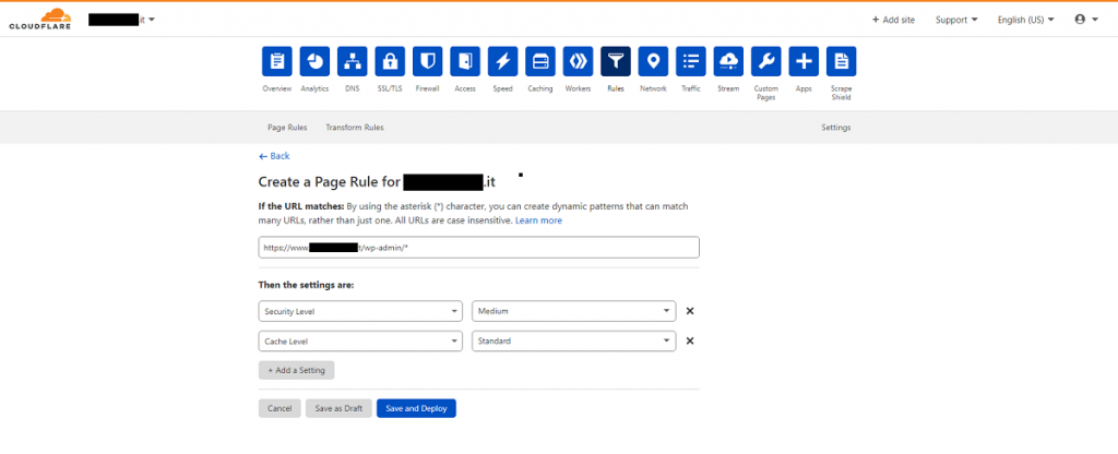Cloudflare - Settings new rule backend